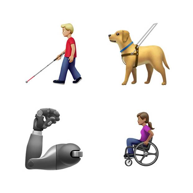 Apple has introduced more disability-themed emojis including a new guide dog, an ear with a hearing aid, wheelchairs, a prosthetic arm and a prosthetic leg. Photo / Apple