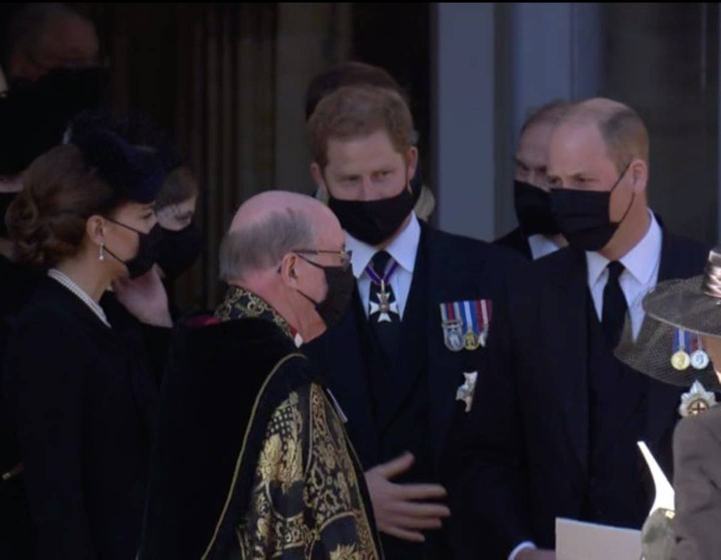 The brothers were seen standing side-by-side as they spoke to the Archbishop of Canterbury after Prince Philip's funeral. Photo / BBC