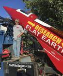 Mike Hughes with his steam-powered rocket constructed out of salvage parts. Picture / AP