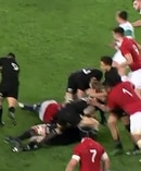 Mako Vunipola with an off the ball hit on Anton Lienert-Brown. Photo / Sky Television