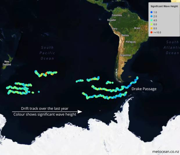 This map illustrates the buoys' 6500km drift across the bottom of the world. Image / MetOcean Solutions
