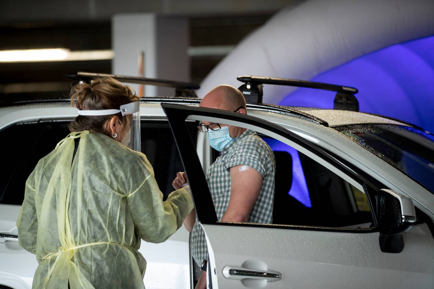 Fisher & Paykel's drive-through vaccination site for its workers and their household bubbles in its underground carpark in East Tamaki. Photo / Dean Purcell