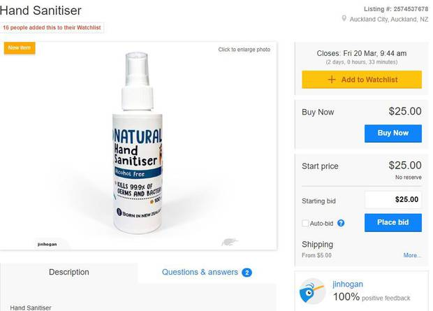 A person is currently selling a bottle of hand sanitiser for $25 on TradeMe. Image / TradeMe
