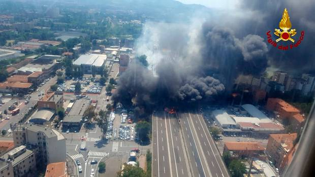 A helicopter view of the explosion.