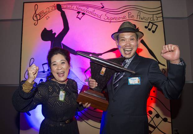 NZ Bakels Supreme Pie Awards winner Patrick Lam of Patrick's Pies Cafe and Bakery Tauranga with his wife Lay Phan Ho. Photo/supplied