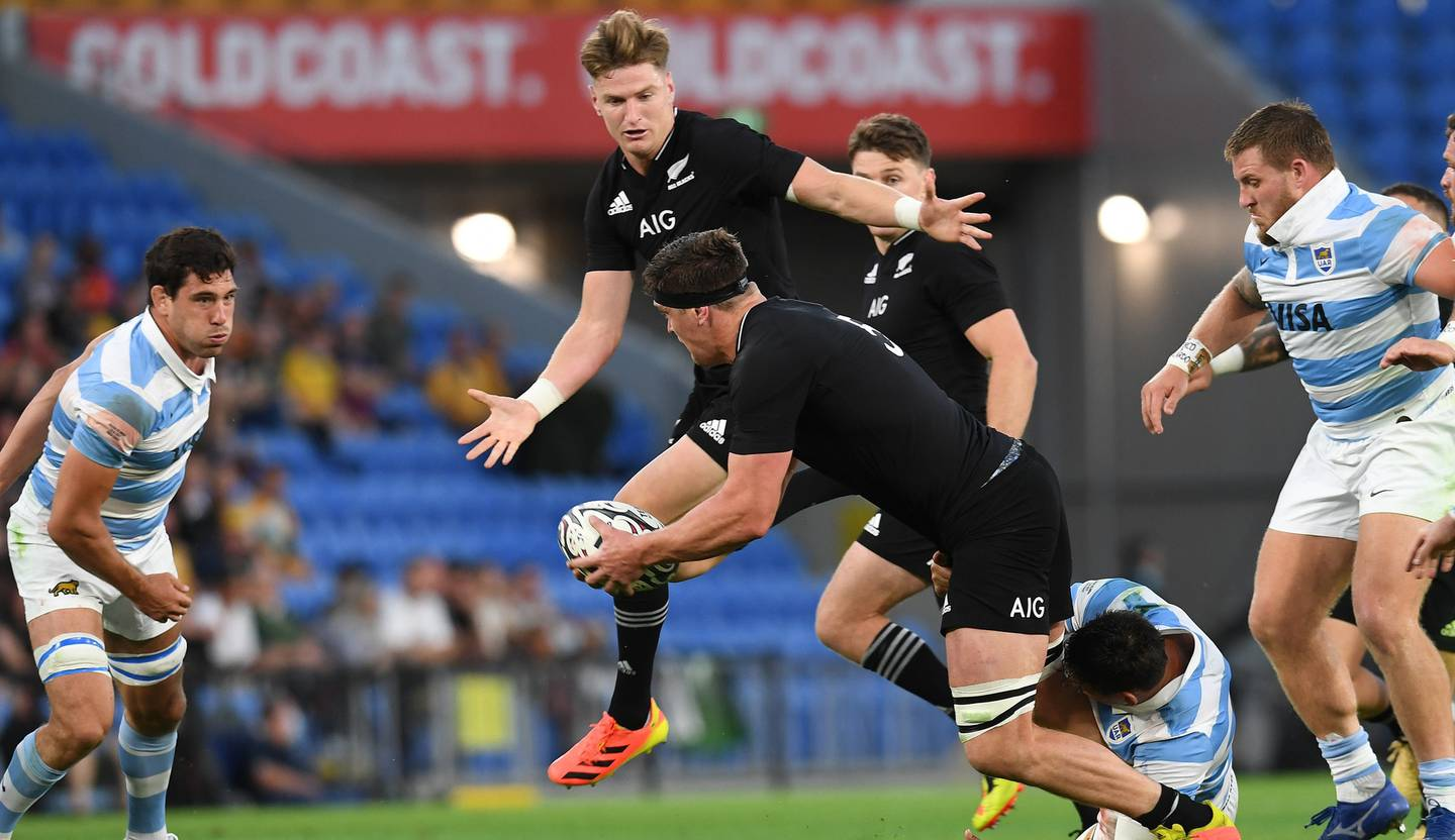 Scott and Jordie Barrett on the attack for the All Blacks. Photo / Photosport
