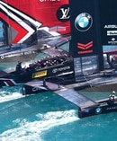 Emirates Team NZ pin Oracle Team USA in the start box, about to sail away to victory off Bermuda. Photo/Gilles Martin-Raget