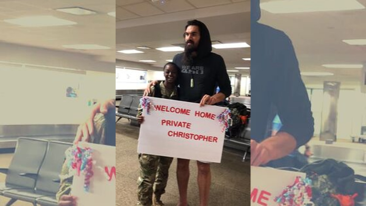 Steven Adams helps welcome home US soldier returning from basic training