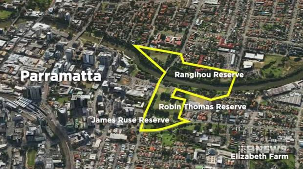 The disputed area is an Eastern section of cental Parramatta, taking in parklands and reserves along with part of a river. Photo / 9 News