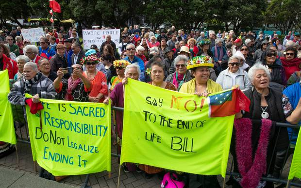 Pacific Island people opposing the End of Life Bill at Parliament. Photo / Mark Mitchell