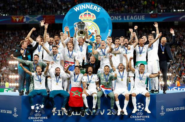 Real Madrid's Sergio Ramos lifts the trophy after winning the Champions League Final soccer match between Real Madrid and Liverpool at the Olimpiyskiy Stadium in Kiev. Photo / AP