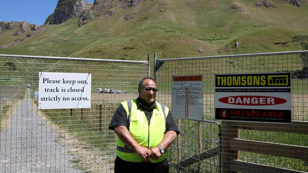 HSM security guard Andrew Kemp is stationed outside the Craggy Range track. Photo / Duncan Brown