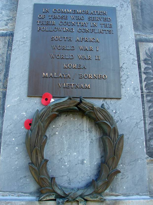 The wreath and plaque before being damaged. Photo / WDC