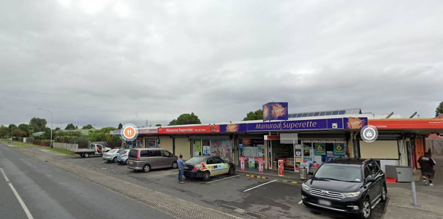 The Manuroa Superette at 1/15 Princess St, Takanini, was visited by a person with Covid on Monday between 1.41pm and 2.45pm. Image / Google
