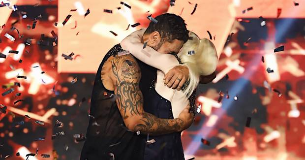 Manu Vatuvei celebrates winning the latest season of 'Dancing With the Stars'. Photo / Supplied/Mediaworks