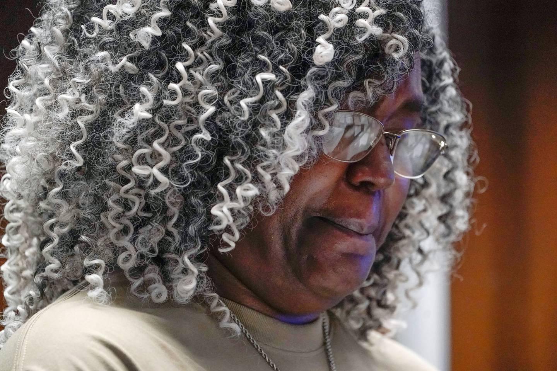 Anita Mason, mother of Robin West, reads a victim impact statement during the sentencing for Khalil Wheeler-Weaver. Photo / Seth Wenig, Pool via AP