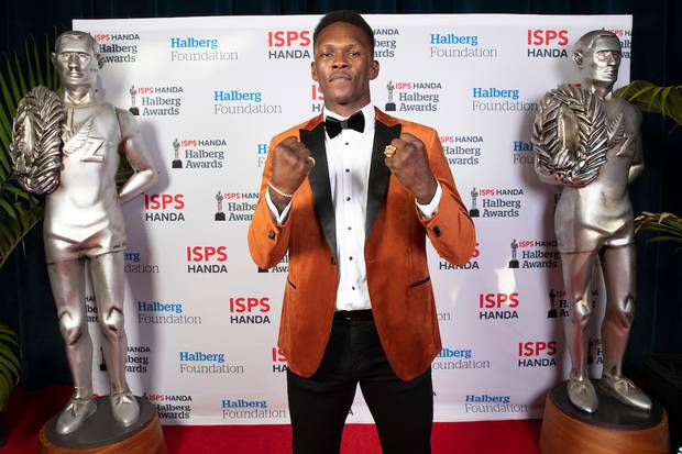 UFC Middleweight champ Israel Adesanya was a winner at the Halberg Awards. Photo / Photosport
