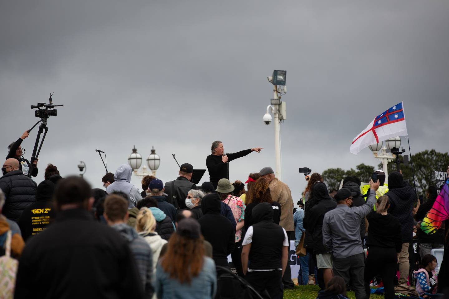Destiny Church leader Brian Tamaki addressed a crowd of around 1000 people that gathered on Saturday in Auckland. Photo / Sylvie Whinray