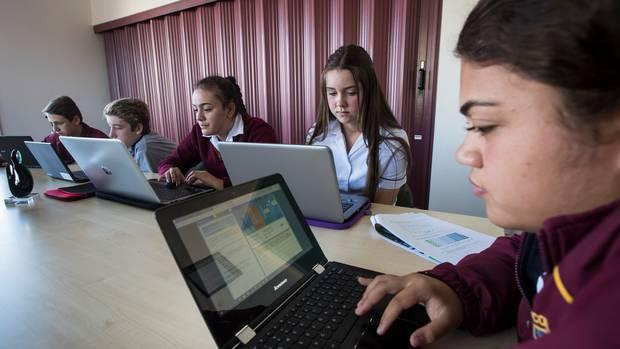 Waiuku College 15-year-olds tried Pisa questions last year for the Herald. Nic Ruygrok, left, Zach Whitley, Latesha Latu, Mikayla Capes and Mauriora Kaihau. Photo / Jason Oxenham