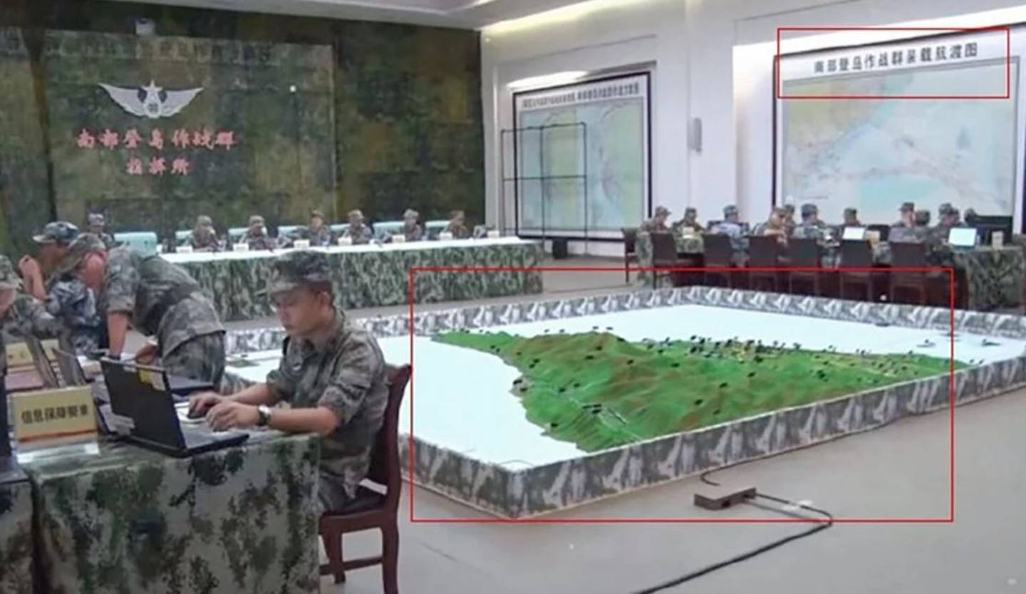 A 3D model of southern Taiwan at a PLA Southern Theatre Command centre. Photo / SCMP