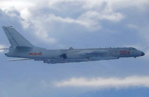 In this photo released by the Taiwan Ministry of National Defence, a Chinese People's Liberation Army H-6 bomber is seen flying near the Taiwan air defence identification zone. Photo / AP