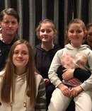 The Timaru family stuck in their car seven minutes from home for two and a half hours. Alistair Bradley, left, Caitlin Bradley, 16, Alysha Bradley, 12, Nicole Bradley, 8, and Sheryl Bradley. Photo / Supplied