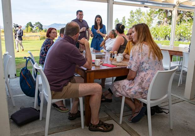 Jacinda Ardern and Grant Robertson chat to the Labour caucus during their retreat breakfast in Martinborough today. Photo / Mark Mitchell