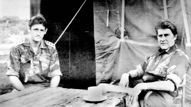 Author with then Rhodesian Minister of Defence Pieter Kenyon van der Byl. Photo / Supplied