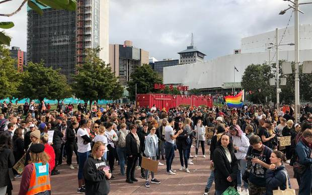 Protesters wait for the start of the Black Lives Matter rally in Aotea Square in Auckland. Photo / RNZ