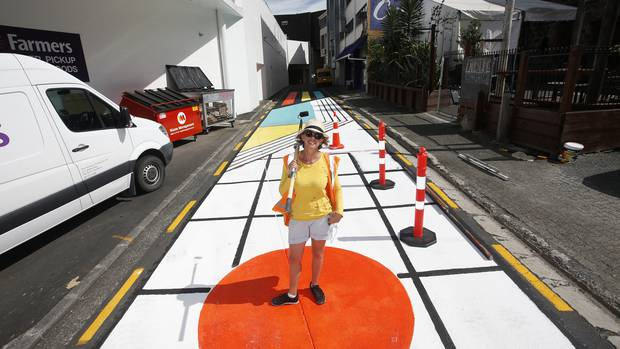 Artist Melinda Butt has painted a colourful design on Butter Factory Lane. Photo / Michael Cunningham