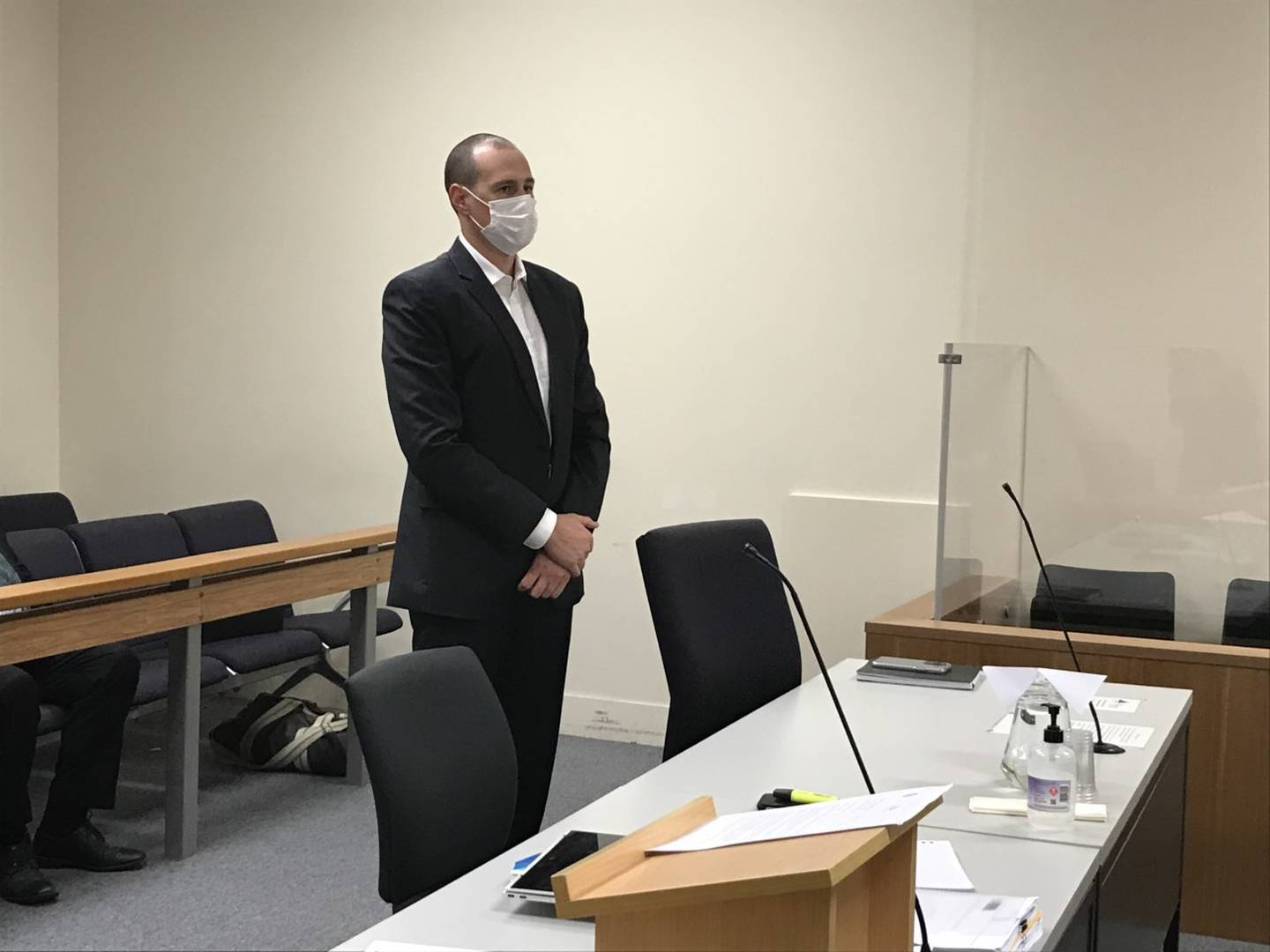 Mitchell McIntrye when he appeared on trial in Auckland District Court last month. Photo / John Weekes