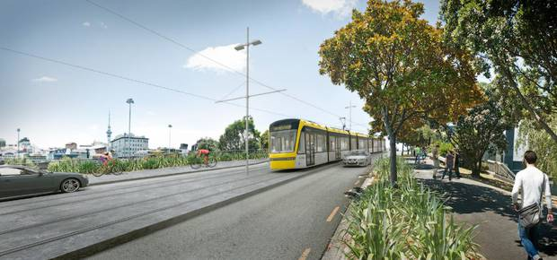 Construction of the light rail will take about two years and cause great disturbance to traffic and firms in Queen St. Photo / Supplied