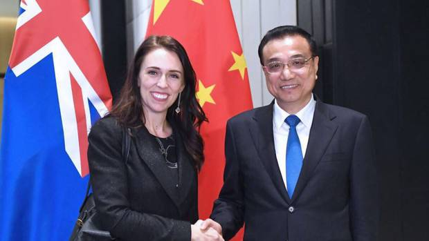Jacinda Ardern meets China's Premier Li Keqiang in November.