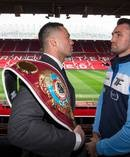 New Zealand heavyweight boxer and WBO world champion Joseph Parker and British heavyweight Hughie Fury during a press conference at Old Trafford football ground. Photo / Photosport.co.nz