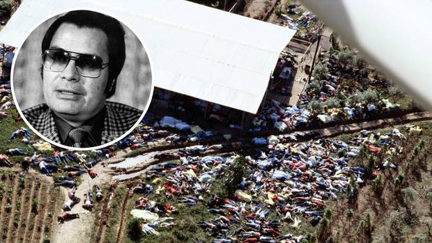 Dead bodies lie around the compound of the People's Temple cult November 18, 1978 after the over 900 members of the cult, led by Reverend Jim Jones, inset. Photos / Getty Images, AP