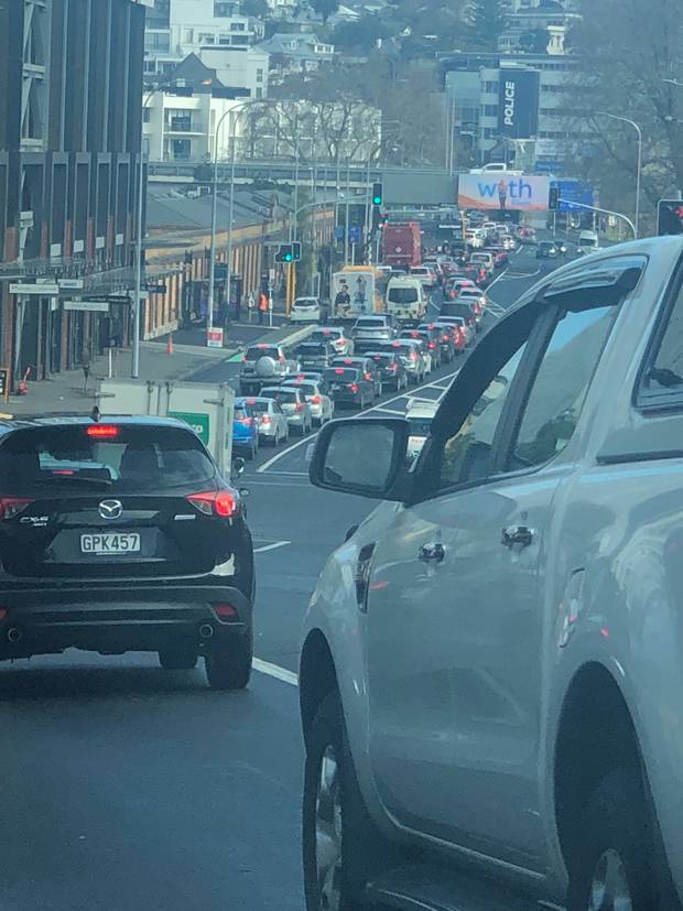 Traffic was heavy 20 minutes before midday as motorists battled to get home in time for lockdown.