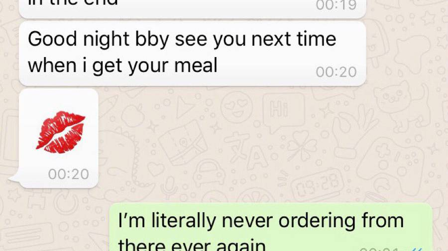Woman shares creepy messages Just Eat driver sent her after delivery