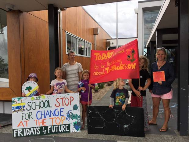 Schoolchildren have started striking every Friday in Waihi. Photo / Supplied