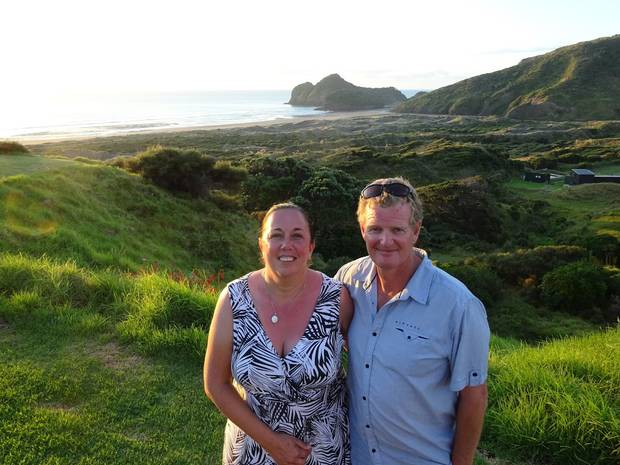 Mark Salmons, pictured with wife Sharon, died while fly fishing in Golden Bay on Boxing Day. Photo / Supplied