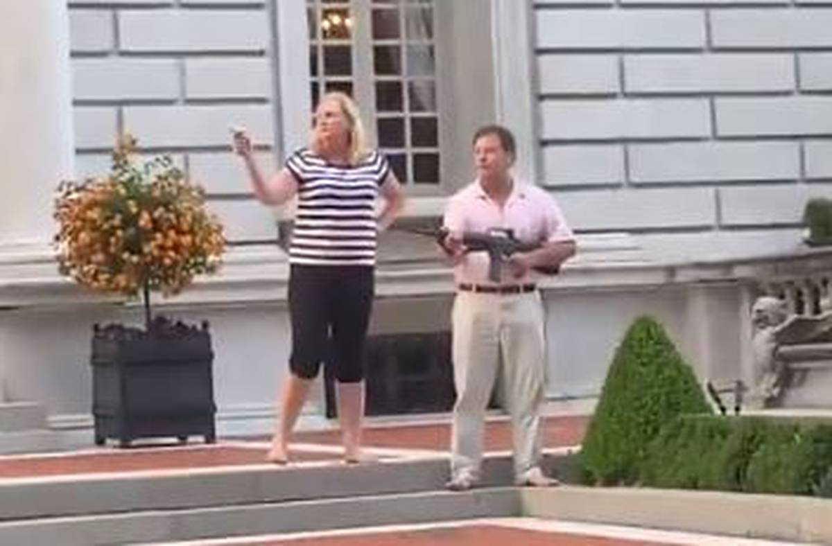 Black Lives Matter: Couple draw guns on protesters outside their St Louis mansion