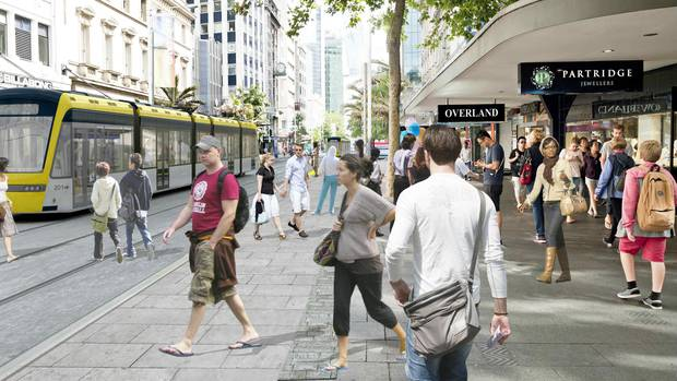 Auckland Transport produced this image of how light rail would look but ranked it so low it would not get funding. Photo / Artist Impression
