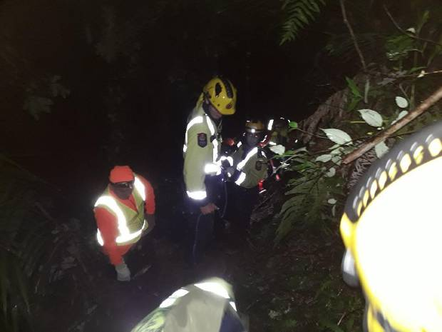 Emergency services cut through dense bush to rescue injured pig hunter. Photo / Whakatane Search and Rescue