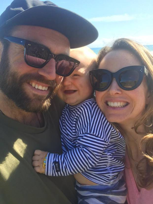 Toby and Laura Leadbetter with their 11-month-old son, Zephyr, who was last night admitted into Taranaki Base Hospital with an infection. Photo / Toby Leadbetter