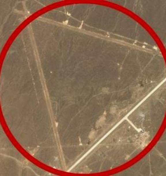 """Satellite image of Lop Nur air base in Xinjiang, China. China's very own """"Area 51""""? Photo / Supplied"""