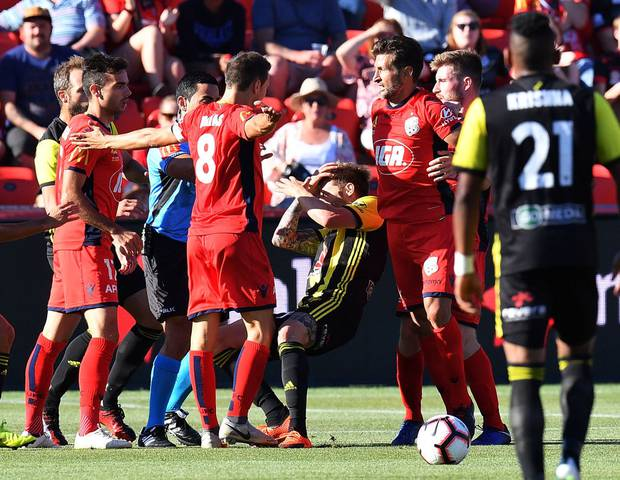Mandi Sosa goes down after a suspected shove from Isaias Sanchez in the aftermath of the kicking incident. Photo / Getty