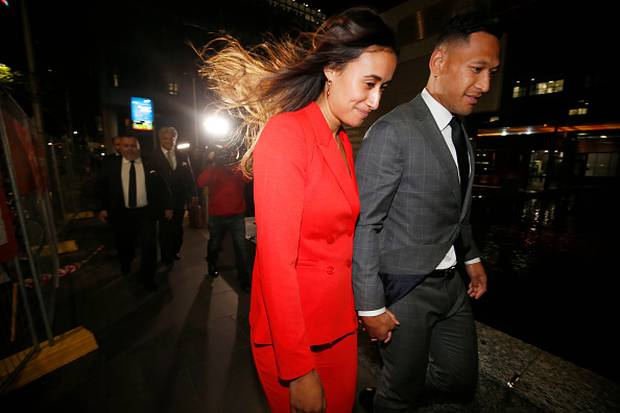 Maria Folau with husband Israel Folau as he leaves Federal Court. Photo / Getty