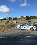 Police have set up a cordon at Mt Tiger Rd. Photo / Michael Cunningham