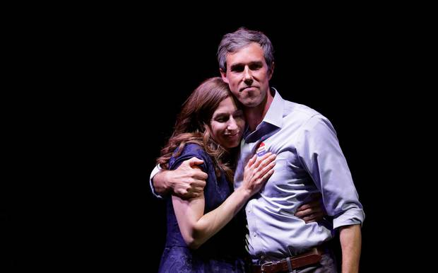 Beto O'Rourke stands with his wife, Amy Sanders, at his election night party, after losing to Ted Cruz. Photo / AP