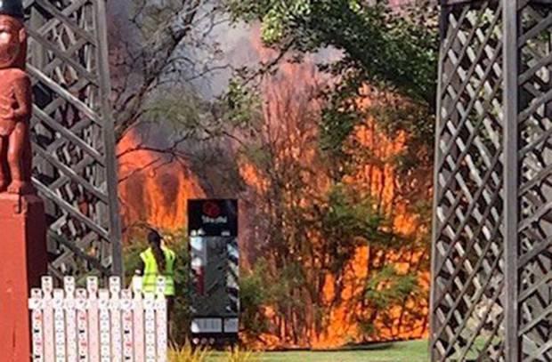A fire burns inside the Government Gardens in Rotorua. Photo / Rotorua Lakes Council