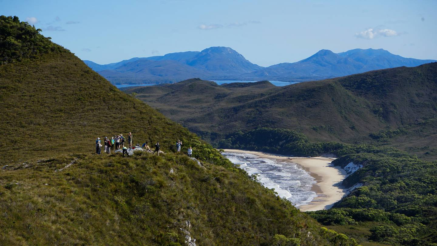 Overlooking Bramble Cove on the Mt Milner hike. Photo / Coral Expeditions, Supplied